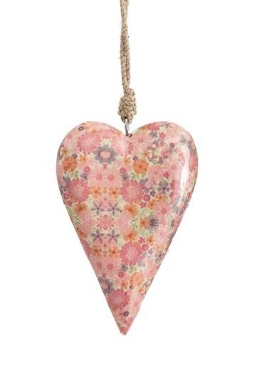 Vitale Çiçek Desenli Kalp Orta Boy Pembe
